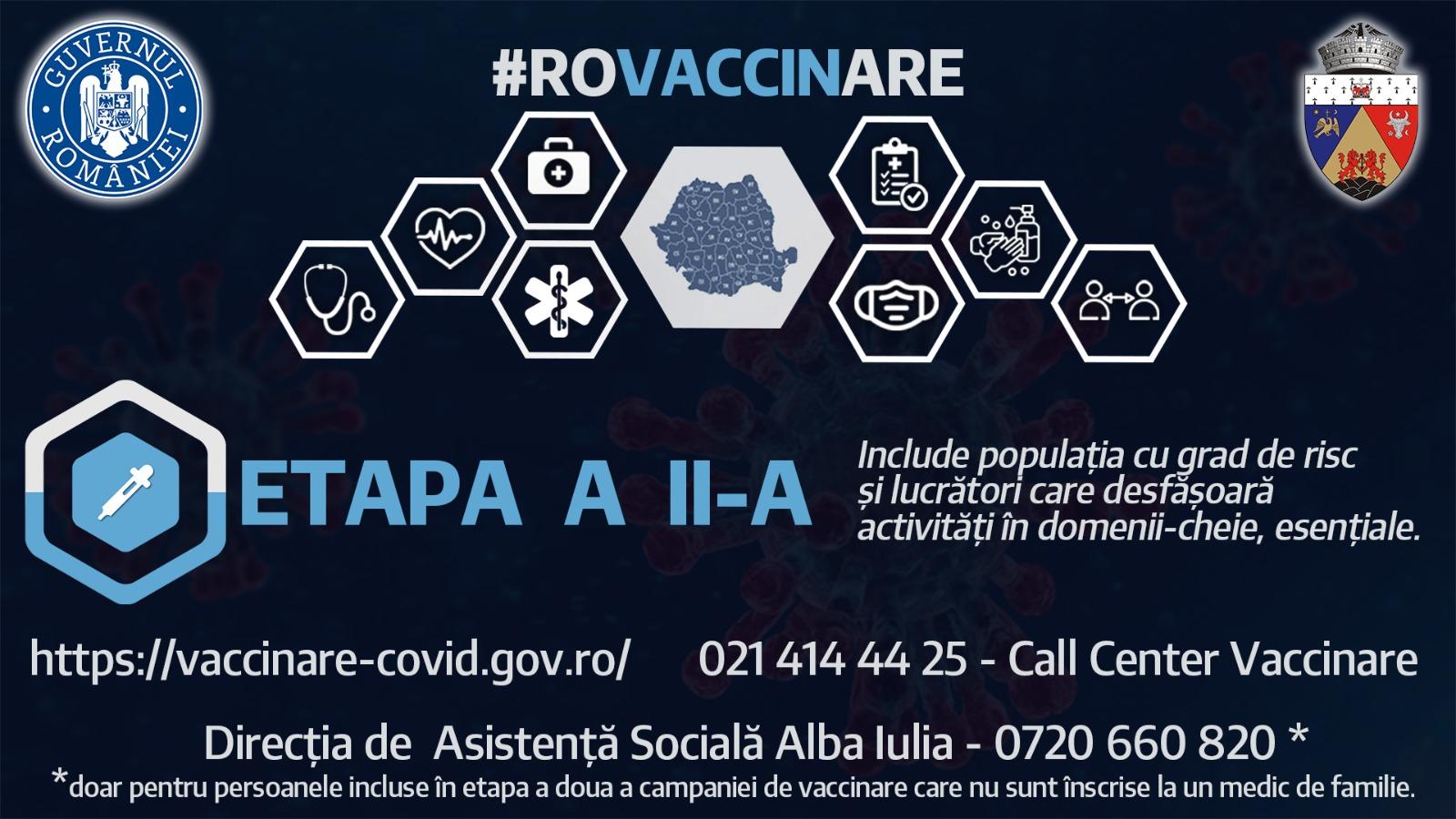 Înscrierile pentru etapa a II-a de vaccinare se pot face și prin intermediul Direcției de Asistență Socială Alba Iulia